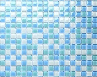 Sea Blue Glass Tile Sheets for Shower Wall Tiles Glossy Crystal Mosaic Kitchen Backsplash Bathroom Cheap Tiles