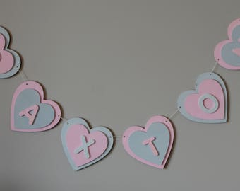 Personalised Heart Bunting, wooden heart bunting, baby bunting, nursery decor, baby decor, baby shower gift, baby shower decoration