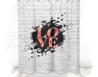 Shower curtain / shower curtain 150cm LOVE