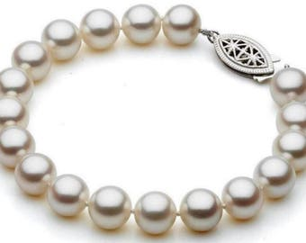 White Freshwater Cultured White Pearl Bracelet In 925 Sterling Silver In Two Size- 9mm & 10mm
