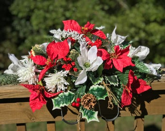 Christmas Cemetery Flowers, Cemetery Saddle , Christmas Flowers, Poinsettias, Holly, Magnolias