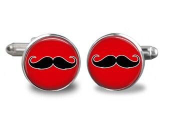 Mustache cufflinks Hipster cufflinks Red cufflinks mustache gift mens gift mens cufflinks glass cufflinks silver cufflinks mens cuff links