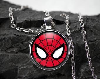 Spiderman Glass Pendant Spiderman necklace Spiderman jewelry Marvel Comics superhero photo pendant photo jewelry
