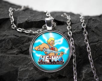 He-man Glass Pendant Motu necklace He-man jewelry masters of the universe photo pendant art pendant photo jewelry art jewelry silver