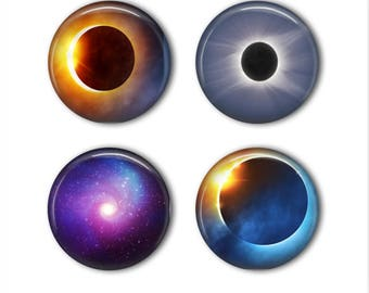 "Eclipse magnet set space solar system galaxy magnet science set 1"" glass magnet set of 4 refrigerator fridge office teacher wedding party"