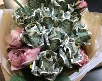 Handmade 1 Dozen money rose bouquet
