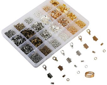 24 Styles Jewelry Making Kit Case within Open Jump Rings Lobster Clasps Cord Ends and Ribbon Ends, 6 Assorted Colours