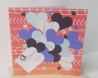 Love Anniversary Card, Handmade, Greeting Card, I love you