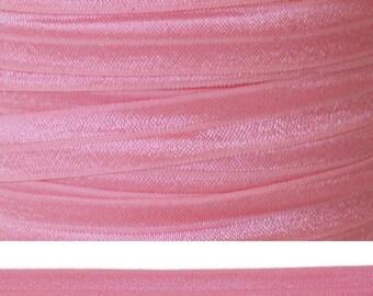 PINK Fold Over Elastic - FOE - 5 Yards - Solid Fold Over Elastic - 5/8 Elastic - Pink Elastic - Pink Ribbon