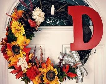 Custom Letter Fall Wreath