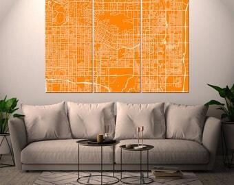 Scottsdale Arizona, City Map, Canvas Print, Wall Art, Multi panel