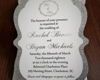 SAMPLE: Glitter Wedding Invitation