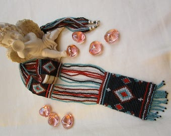 Mexican woven glass beads and seed beads necklace