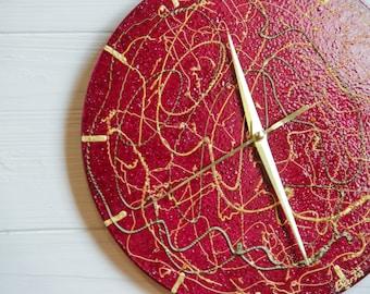 Modern wall clock Gold Threads. Glass wall clock, Silent clock, Organic glass clock, Gold clock, Designer clock, Housewarming gift, Abstract