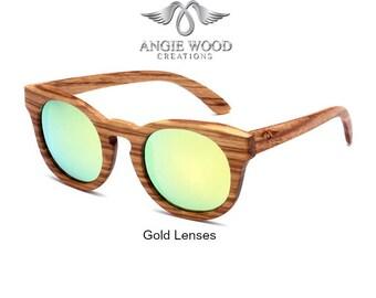 Trendy Polarized Wood Glasses ( Included Elegant bamboo box for glasses )