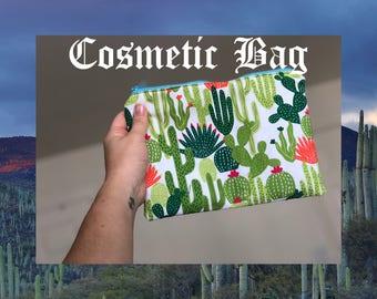 Large Cactus/Succulent Flat Cosmetic Zipper Pouch Bag