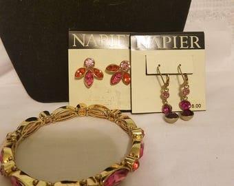Vintage Napier signed gold tone and pink rhinestone bracelet & earrings
