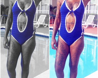 royal blue & white one piece swimsuit