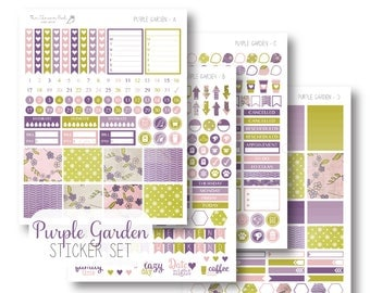 EC Purple Garden Planner Stickers, Sticker Kit, Weekly, EC Vertical Planner Stickers, Monthly Sticker Set by The Clever Owl Paper Co.