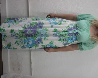 60s floral floor length dress