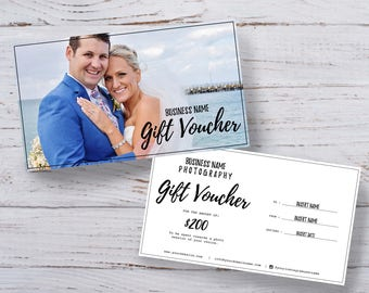 Photography gift voucher certificate template PSD for photoshop - Front and back design