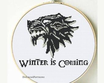 Game of Thrones cross stitch pattern. Winter is coming wall art, wolf cross stitch, GOT cross stitch, GOT gift, Instant download GOT pattern