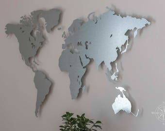 Map of the world made of galvanized steel (magnetic)