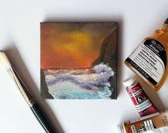 Ocean painting, mini oil painting, 4 x 4, small canvas, table top painting, desk decor, office desk artwork, black canvas artwork