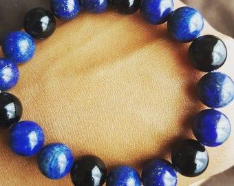Lapis Lazuli and Black Onyx Crystal Gemstone Bracelet