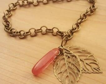 Antique Brass & Cherry Quartz Charm Bracelet