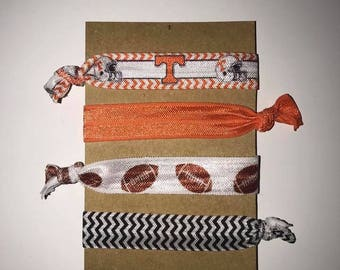 Set of 4 University of Tennessee Volunteers Hair Ties, No Pull, No Crease (UT Vols)