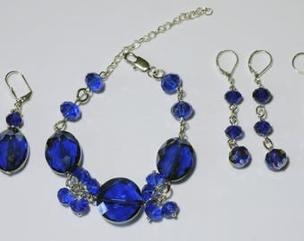 Bracelet and earrings from crystal