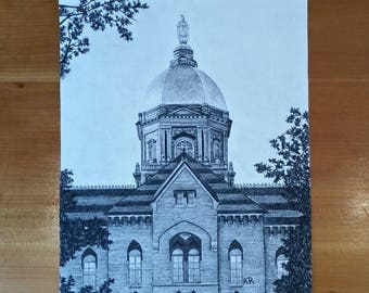 Print- Notre Dame Main Building Charcoal Drawing GICLEE PRINT