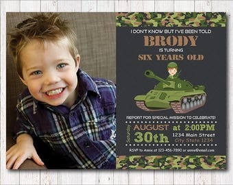 Army Birthday Invitation, Army Invite, Military Invitation, tank invitation, photo invitation, chalkboard, printable