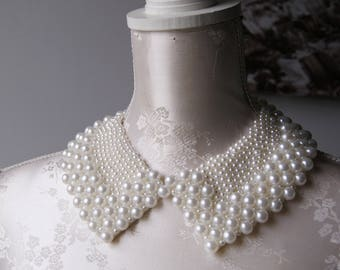 Cream collar necklace with pearls pointed shape detachable beaded collar ecru beads removeable accessories for women peter pan collar