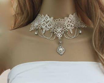 White Bridal Lace Jewelry, White Bridal Lace Necklace, White Wedding Lace Necklace, White Wedding Lace Jewelry, Wedding Bridal Lace Jewelry