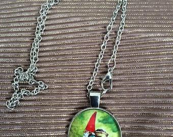 Gnome cabochon necklace with silver tone chain