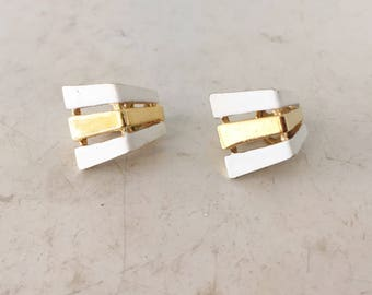 Triangle dome Trifari white enamel earrings