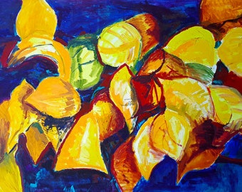 Leaves - print from original painting, nature
