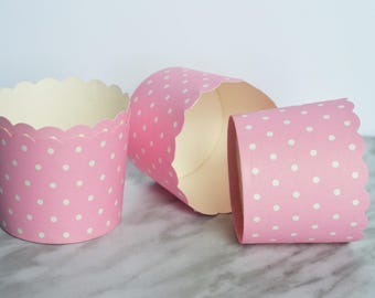 Pink and White Polka Dot Cupcake Holders