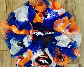 Denver Broncos  LED Wreath