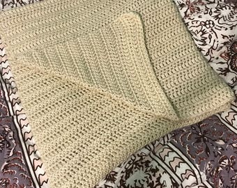 Tan crochet afghan