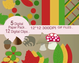 Autumn Digital paper Pack and Clips .