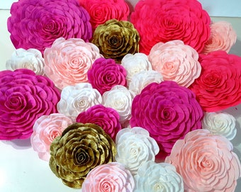 12 giant Paper Flowers pink gold white Nursery Wall Decor Weding Party Decor Bridal Shower Baby Photo backdrop Paper Flowers Wedding sweet 1