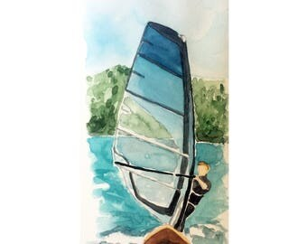 Windsurfing Watercolor_Print
