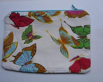 White purse / / lined / / with butterflies 15 x 21 cm