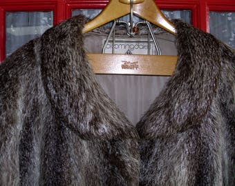 Nutria Fur Coat Women Shades of Dark  and Light Brown Small