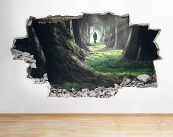H532 Woman Walking Forest Trees Window Wall Decal 3D Art Stickers Vinyl Room