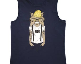 Organic Sleeveless T-shirt Humanimals - Cat