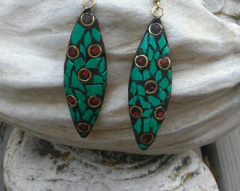 Handcrafted turquoise Look glass Earings
